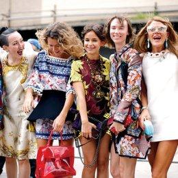 Stefania Yarhi/Textstyles The streetstyle gaggle, from left: Elena Perminova, Michelle Harper, Natalie Joos, Miroslava Duma, Anya Ziourova, Anna Dello Russo, Giovanna Battaglia.