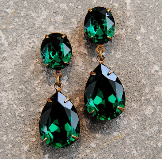 Boucles d'oreilles cristal swarovski mashugana vertes