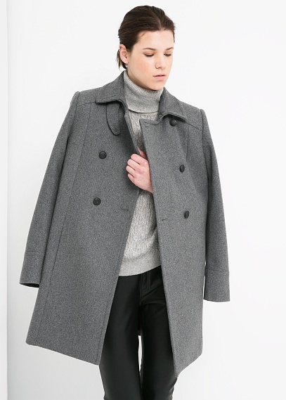 manteau mango gris laine